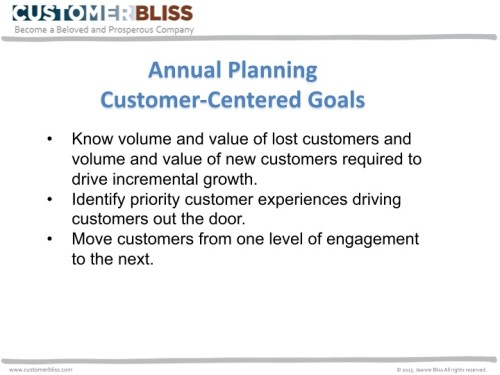 Annual planning customer centered goals