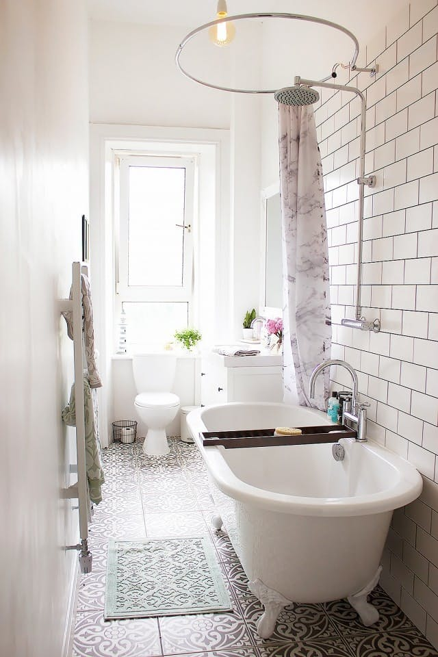 In This Small Bathroom That Is Shaped Like A Narrow Hallway A Side Ways Clawfoot  Bathtub Takes Up Less Space Than Even A Built In Shower.