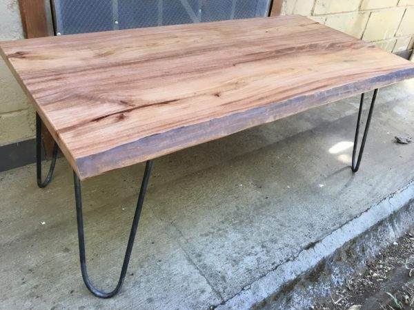 live edge coffee table with hairpin legs