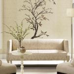 York Serenity Branch wall decal and Marble wallpaper