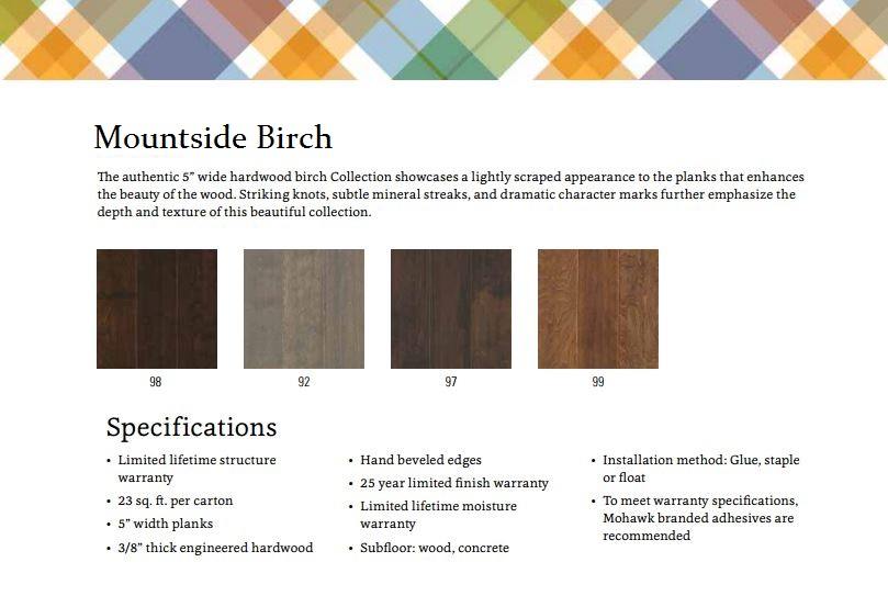 Mohawk Hardwoods Mountainside Birch SPE02 Color Bank