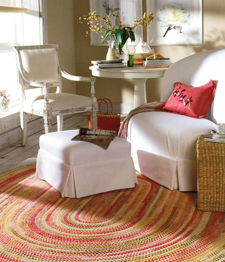 Capel Rugs are made in America with woven textures and bright color palettes .