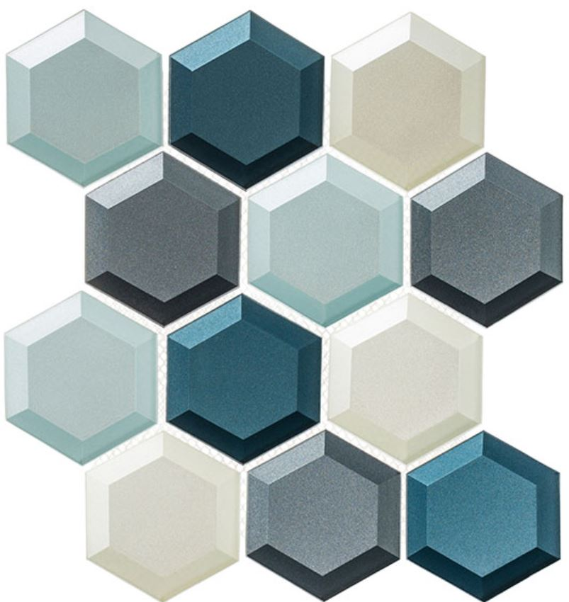 High contrast glass mosaics in a custom shape and shimmering finish.