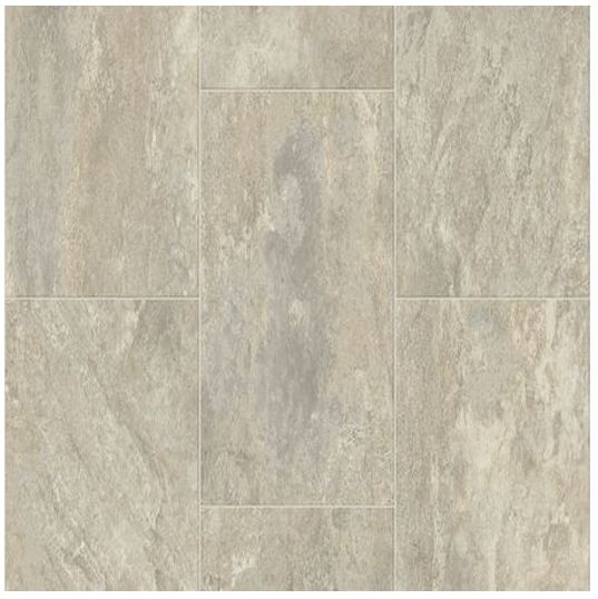 "Creamy grey and beige swirl through this 12"" x 24"" staggered travertine tile design by Bolyu."