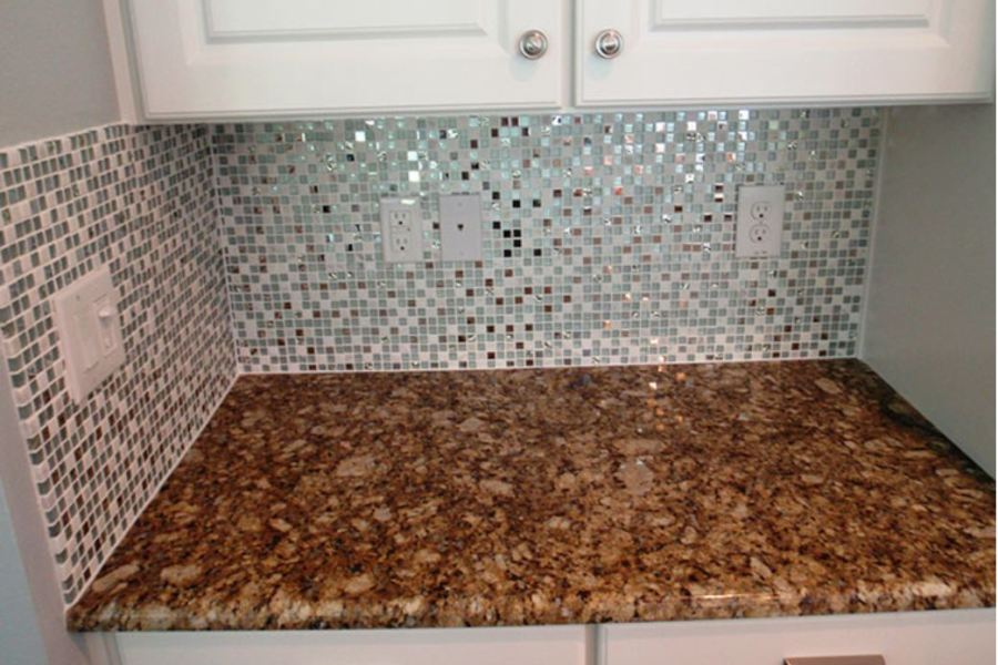 The Mini Metallic Glass and Stone Foil Square Mosaic available at Custom Home Interiors!