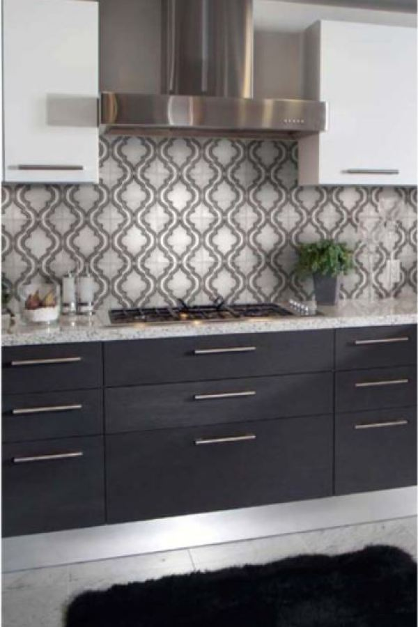 Framed Arabesque Clay Tiles at Custom Home Interiors