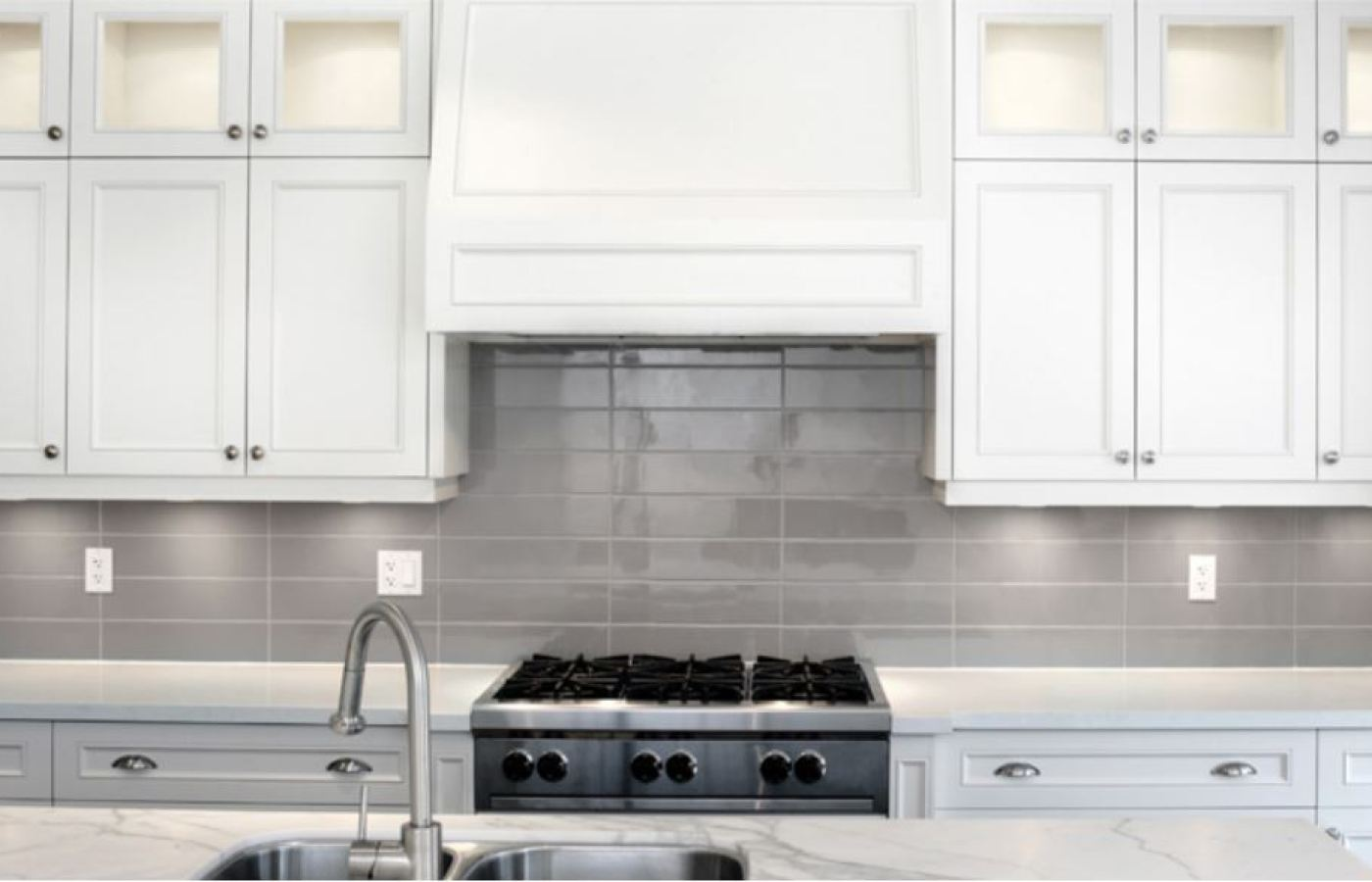 Grey Gloss Subway Tiles available at Custom Home Interiors!