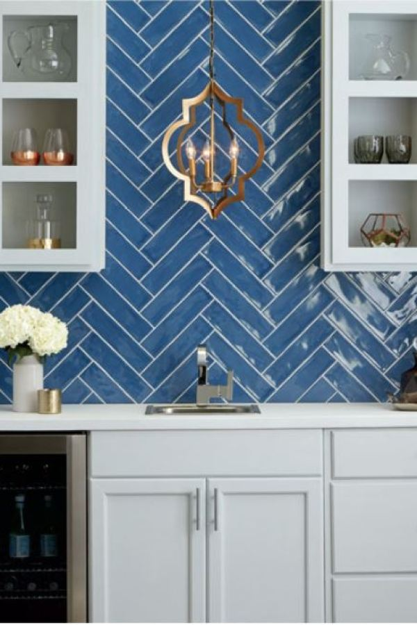 Blueprint Glazed Subway Tiles with Herringbone at Custom Home Interiors