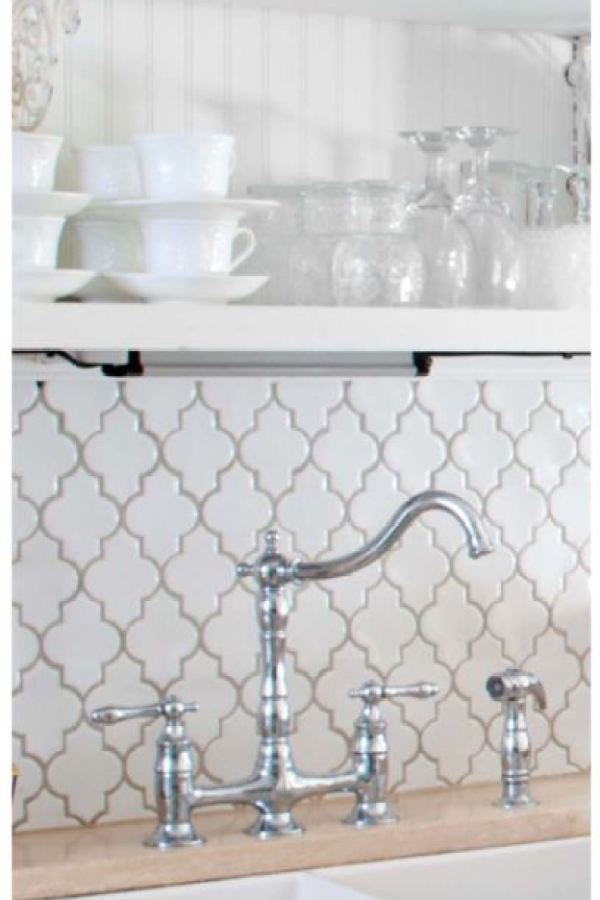 Heavy Bevel Arabesque Gloss White Mosaic at Custom Home Interiors