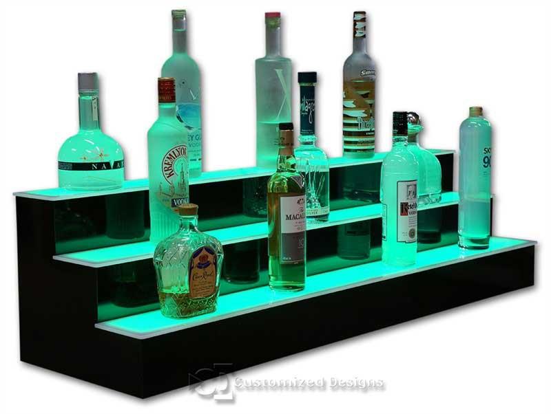 3 Tier LED Lighted Bar Shelving  48 Wide  Black Finish