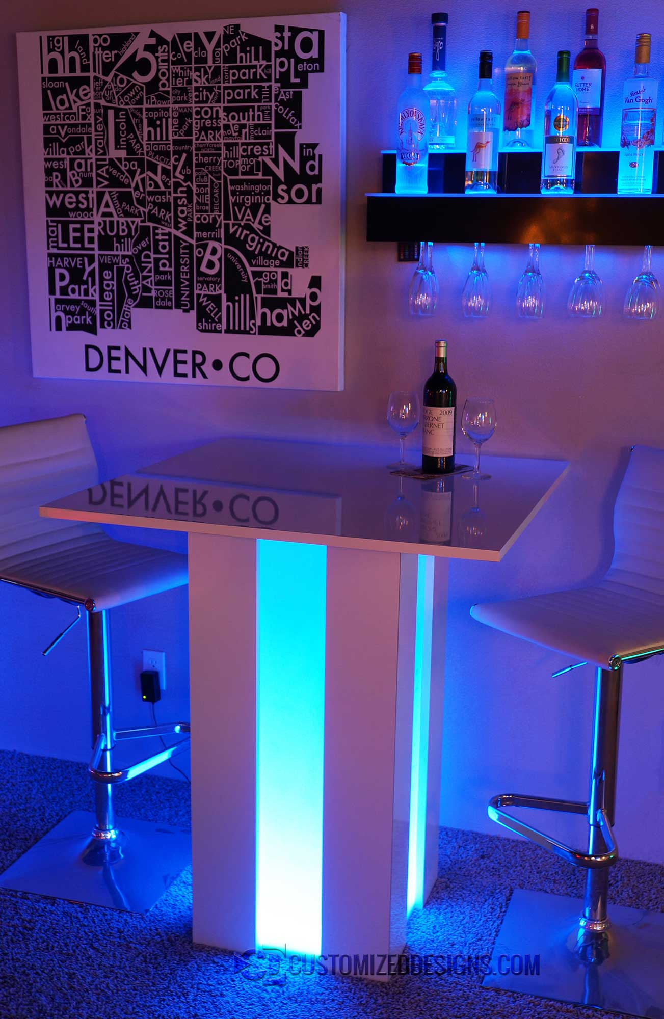 Mirage LED Lighted Cocktail Table  Customizeddesignscom