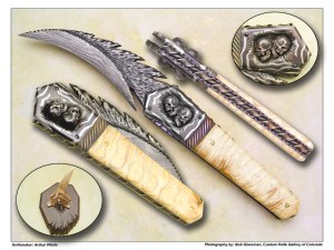 Arthur Whale – Sculpted Mammoth Tooth & Damascus Fantasy Folder