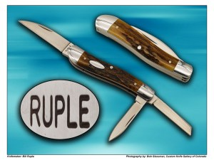 Bill Ruple Splitback Whittler in amber stag