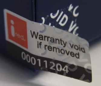 Warranty Void if Removed Label