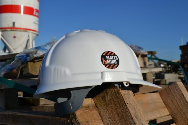 Mates in Mind construction site helmet sticker