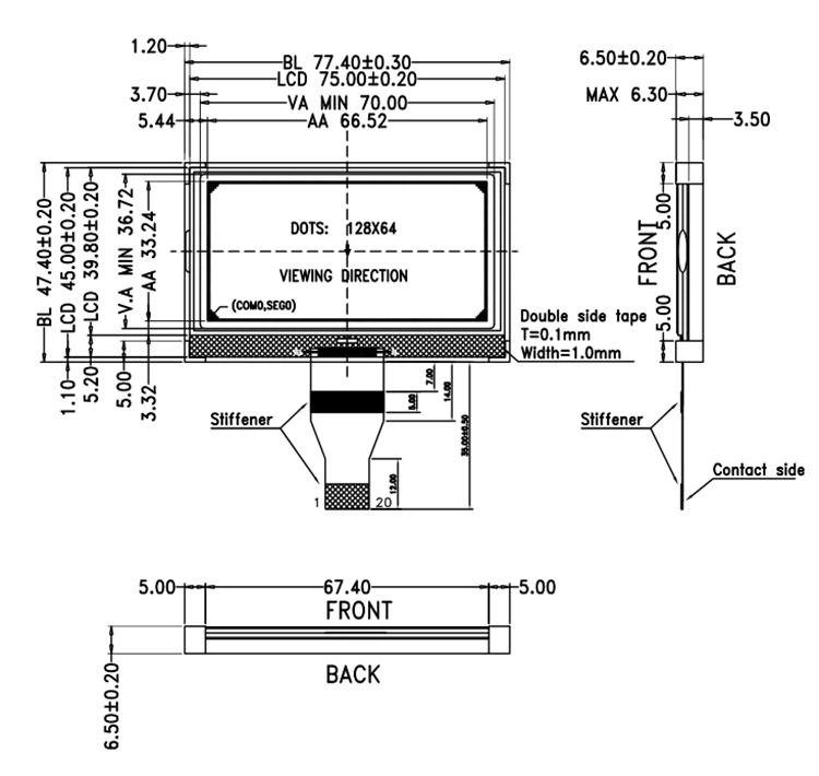 Customized Standard 128x64 Graphic Low Power Monochrome