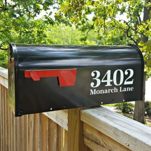 Antiqua Full Address mailbox decals white on black