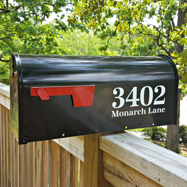 Antiqua Full Address mailbox decals white on black