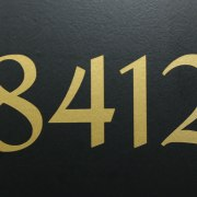 Mailbox Numbers Gold on Black