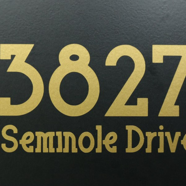 Full address decals gold on black