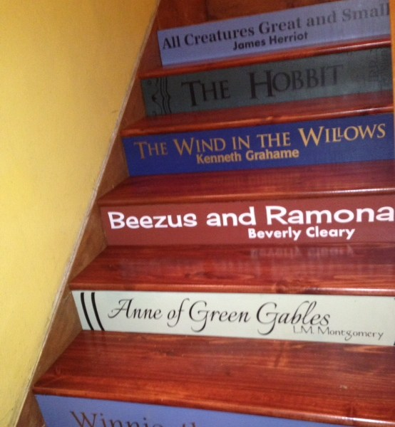 Steps painted to look like books