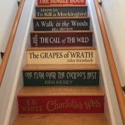 Stairs painted to look like books