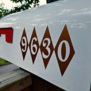 Mid Century Mailbox Decals - Copper