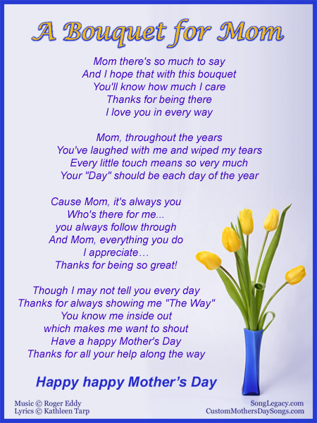 Custom Mothers Day Songs Sample  A Bouquet for Mom