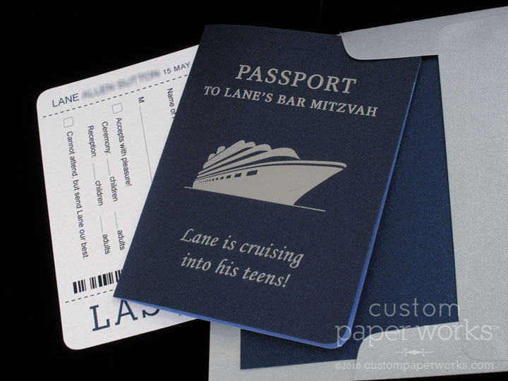 View Larger Image Cruise Ship Mitzvah Invitations In Navy And Silver