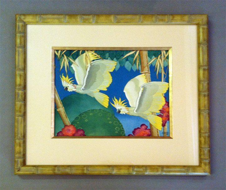 Cockatoo Print in Bamboo Frame