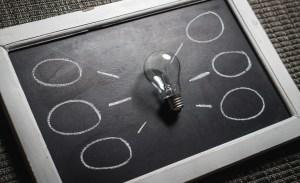 light bulb and chalk board