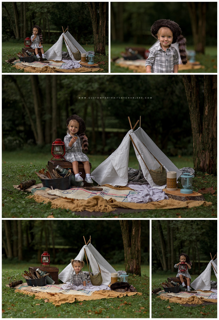 lets go camping limited edition camping themed mini sessions  custom portraits by charlene