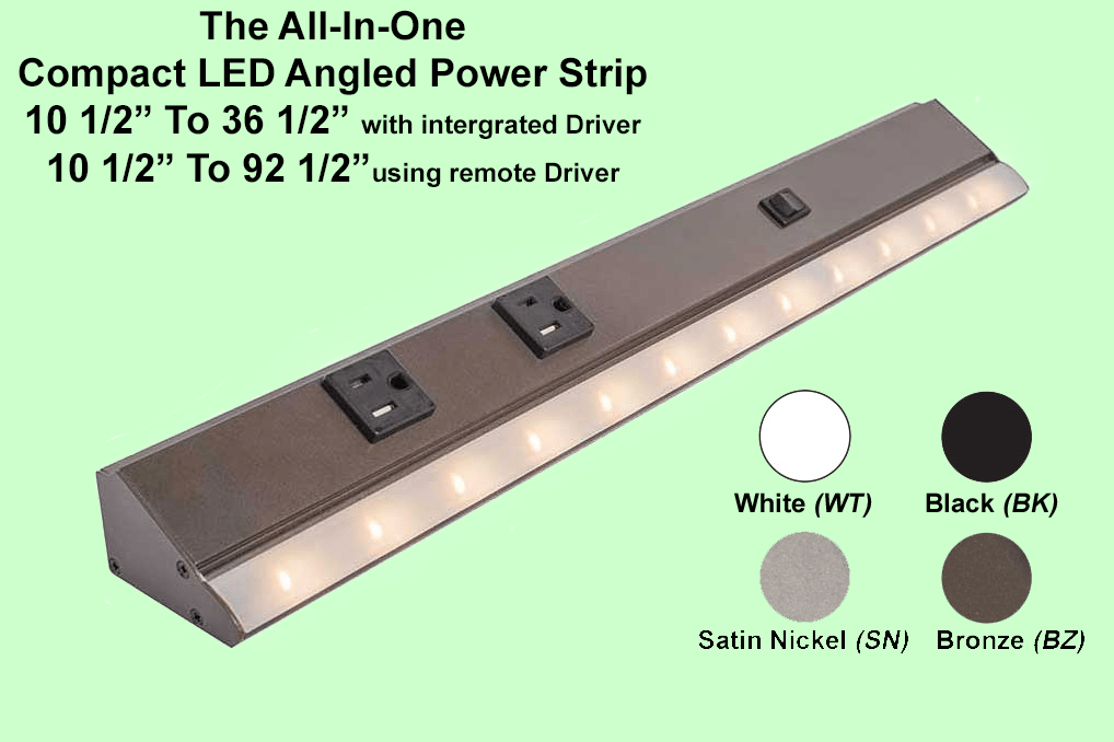 angled power strip with led lighting