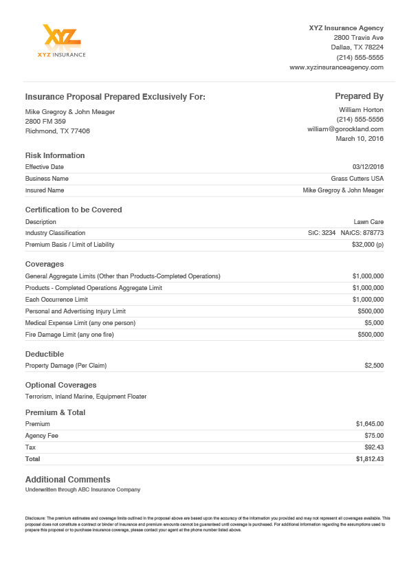 Example Insurance Quote Templates Custom Quote Form