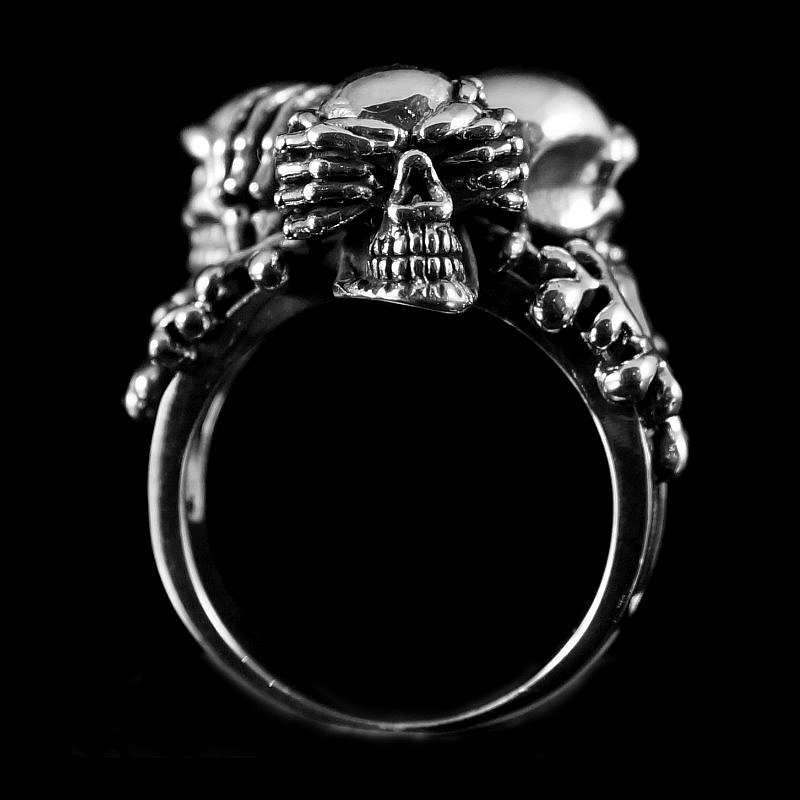 Affen Totenkopf Ring aus 925er Sterling Silber