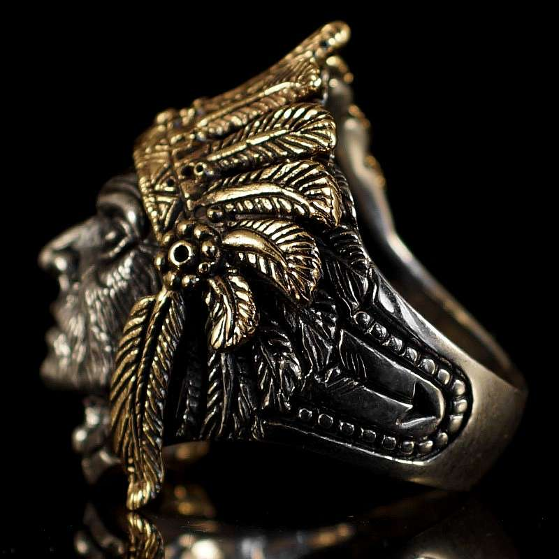 Ring mit Indianer aus Sterling Silber