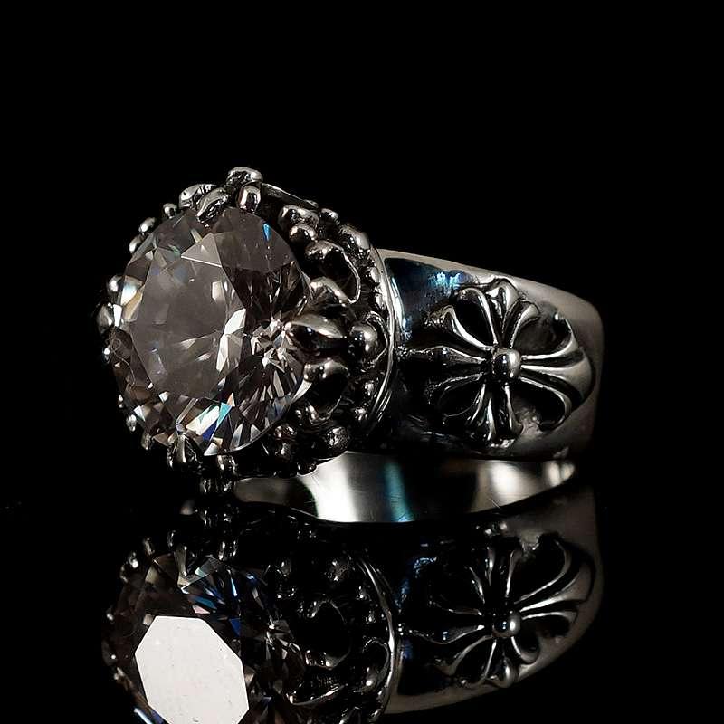 Ring mit Krone Templerkreuz und schwarzem Zirkonia Stein