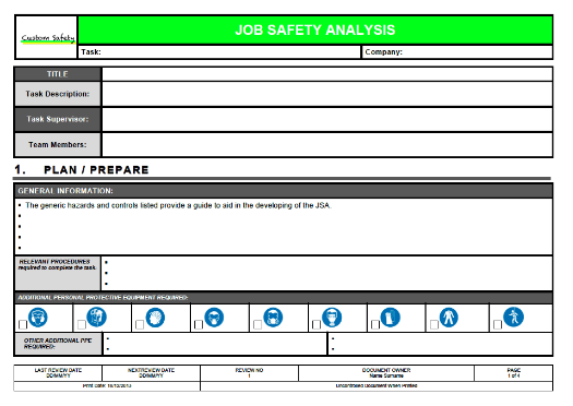 Job Safety Analysis Form Template Job Safety Analysis Template 6 – Job Safety Analysis Form Template