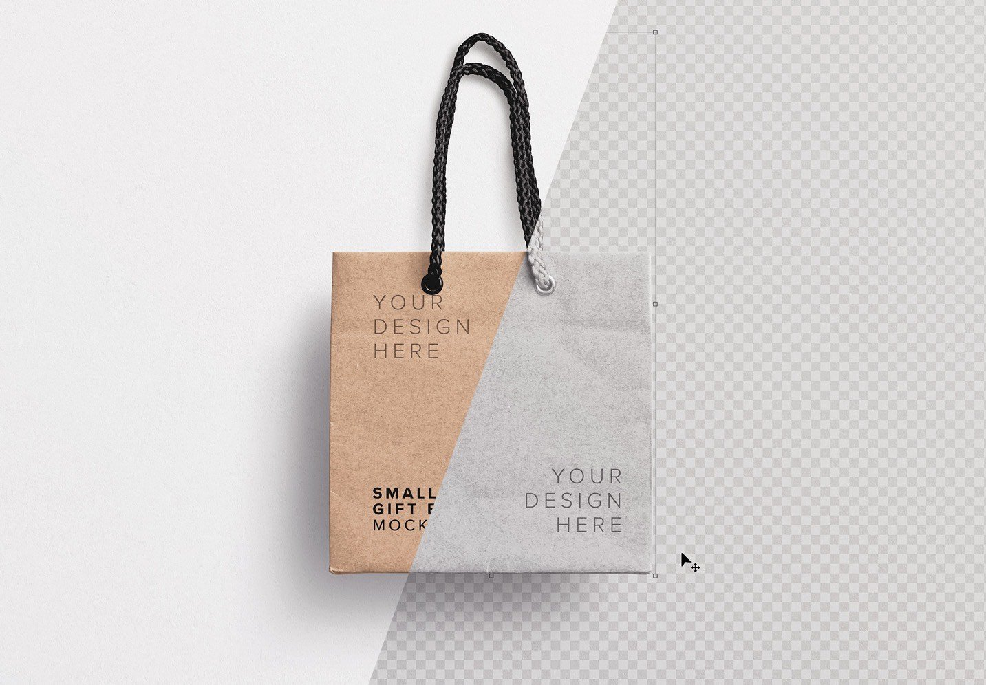 gifts and shopping go hand in hand for free paper bag templates are used for that to keep stuffs inside. Small Gift Bag Mockup Custom Scene
