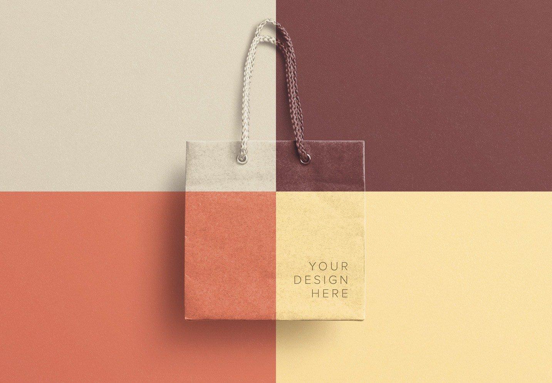 Paper gift bag paper bag packaging packing graphic resource three dimensional logo design 5k resolution. Small Gift Bag Mockup Custom Scene