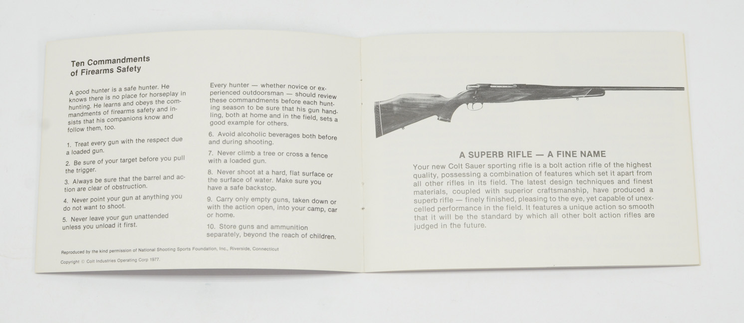 Colt Sauer 'Sporting Rifle' Instruction Manual 1977