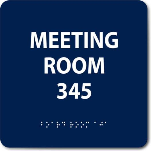 Meeting Room ADA Sign with Braille and Tactile Letters