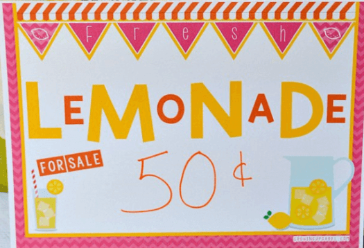 Lemonade Stand Yard Sign