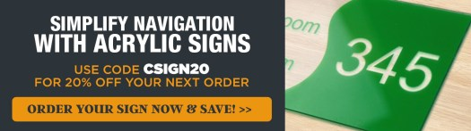 Get 20% Off Your Order with Code CSIGN20, Acrylic Room Number Sign