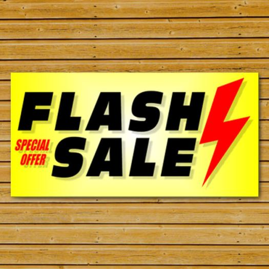 Flash Sale Banner on Wooden Wall