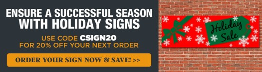 Save 20 Percent on Holiday Signs with Code CSIGN20, Holiday Sale Banner on Brick Wall