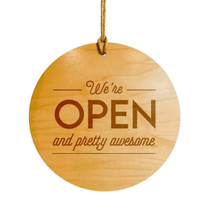 engraved wooden open sign