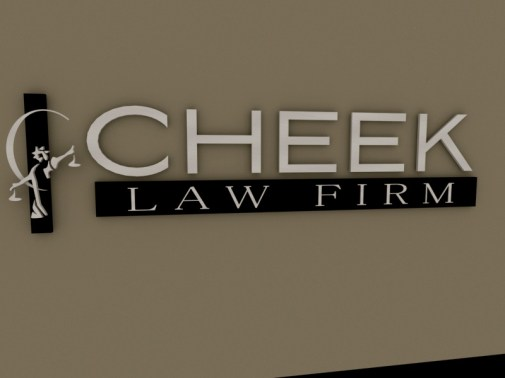 This is the final 3D proof image of the new logo for Cheek Law Firm. Compare it to the actual installed sign images and see how close the rendering matches the final product that was delivered.