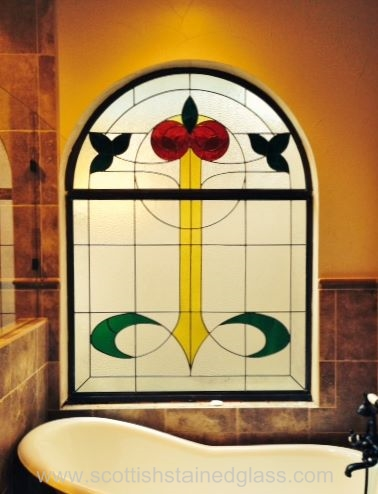 Bathroom Stained Glass large transom
