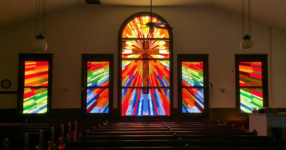 Religious Stained Glass with sidelights